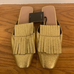 Zara Gold Mules Slides